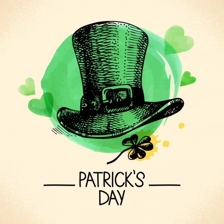 St. Patrick%u2019s Day with hand drawn sketch and watercolor illustrations Stock Vector - 24634746