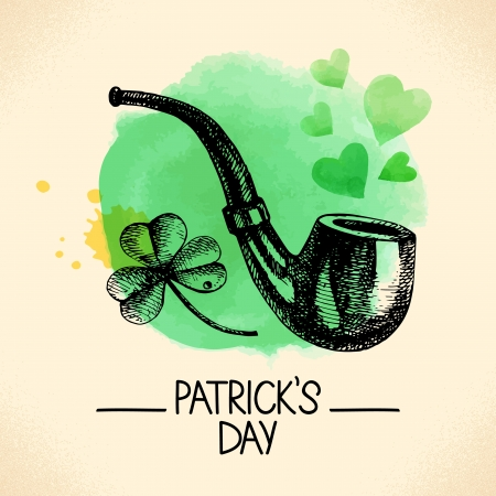 St. Patrick%u2019s Day with hand drawn sketch and watercolor illustrations  Stock Vector - 24634757