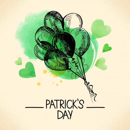 St. Patrick's Day background with hand drawn sketch and watercolor illustrations  Vector