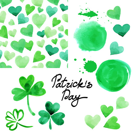 St. Patrick`s day watercolor illustration set. Collection of design elements isolated on white background. Vector illustration  Vector