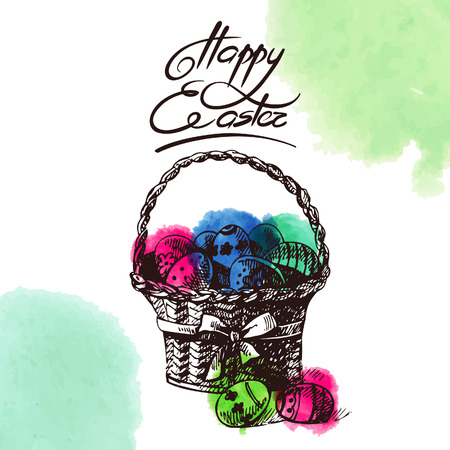 Vintage Easter background, hand drawn sketch  illustration with watercolor elements. Easter greeting card Vector