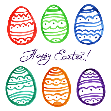 Easter watercolor eggs. Vector illustration