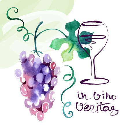 grape leaves: Painted watercolor card with grape leaves. Vector illustration