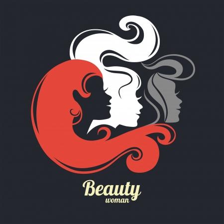 Beautiful girl silhouettes Vector