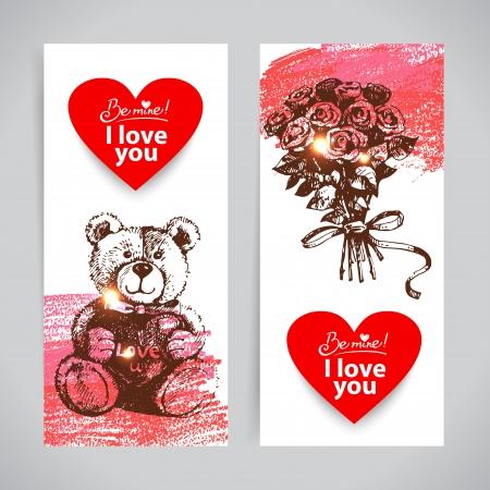 valentine s day teddy bear: Set of Valentine Illustration