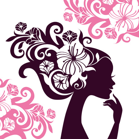 flores retro: Silueta hermosa de la mujer con las flores