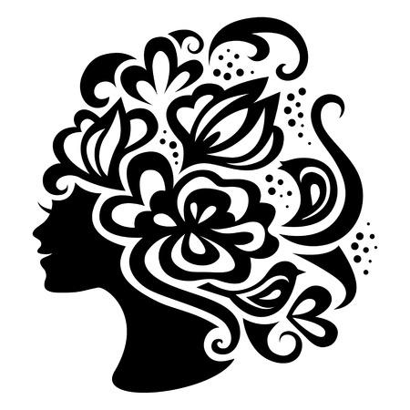 Bella donna silhouette con i fiori