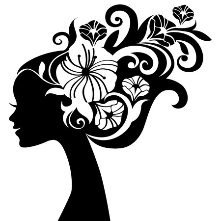 flower head: Beautiful woman silhouette with flowers