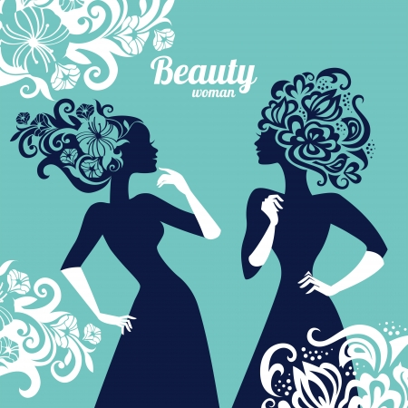 woman profile: Beautiful women silhouette with flowers Illustration