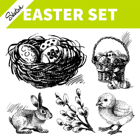 Easter set. Hand drawn sketch illustrations  Vector