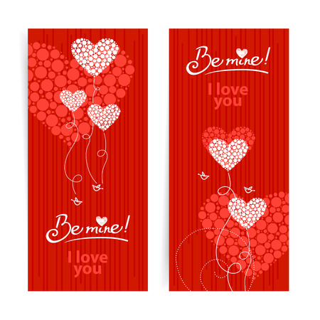 Set of love background with abstract hearts and birds. Valentine's day and wedding cards Vector