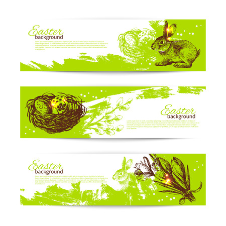 Set of vintage Easter banners with hand drawn sketch illustrations  Vector