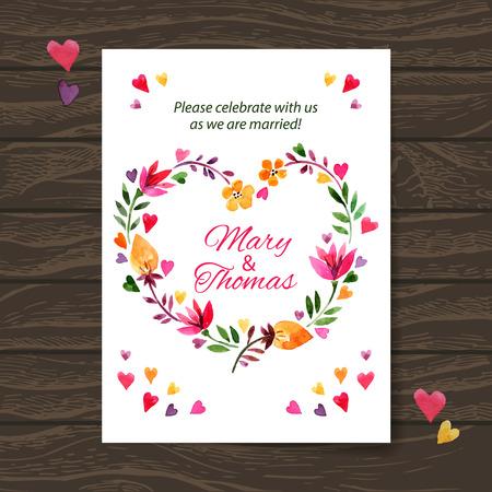 Bruiloft uitnodiging kaart met waterverf bloemenboeket. Vector achtergrond