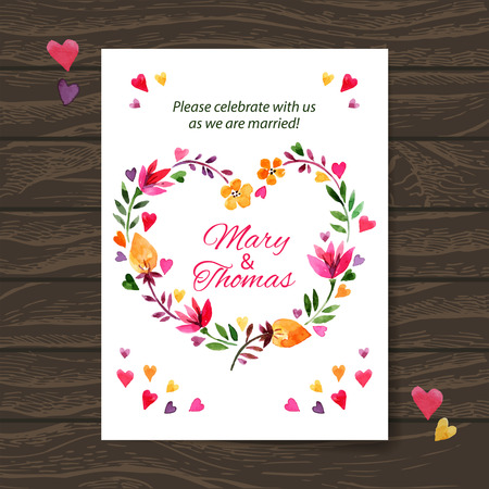 Wedding invitation card with watercolor floral bouquet. Vector background Illustration