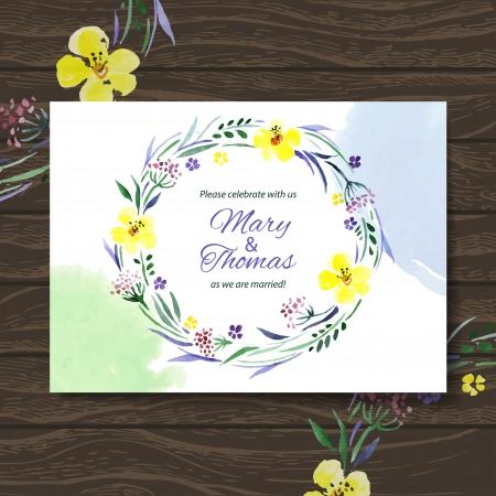 watercolours: Tarjeta de invitaci�n de boda con la acuarela ramo floral. Vector de fondo Vectores