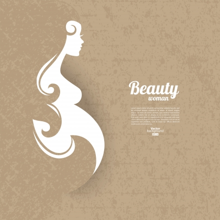 woman background: Pregnant woman silhouette with vintage cardboard texture