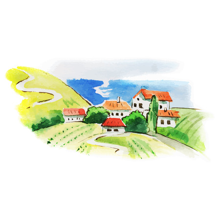 Painted watercolor vineyard landscape