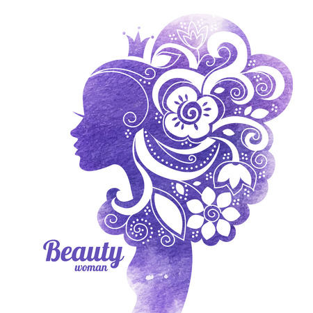 head dress: Watercolor beautiful woman silhouette with flowers. Vector illustration