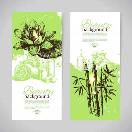 massage symbol: Set of spa banners. Vintage hand drawn sketch vector illustrations