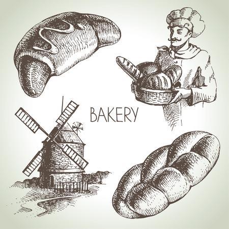 wheaten: Bakery sketch icon set. Vintage hand drawn illustrations  Illustration