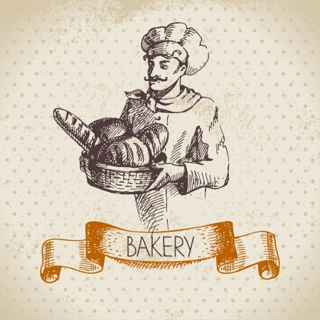 wheaten: Bakery sketch background. Vintage hand drawn illustration of baker Illustration