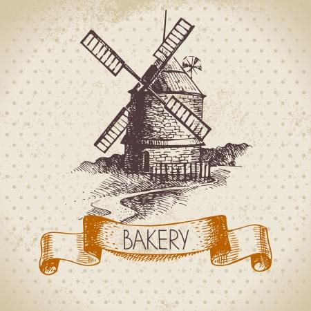 produits céréaliers: Boulangerie croquis fond. Illustration tirée par la main de cru d'usine