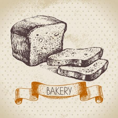 bakery sign: Bakery sketch background. Vintage hand drawn illustration Illustration