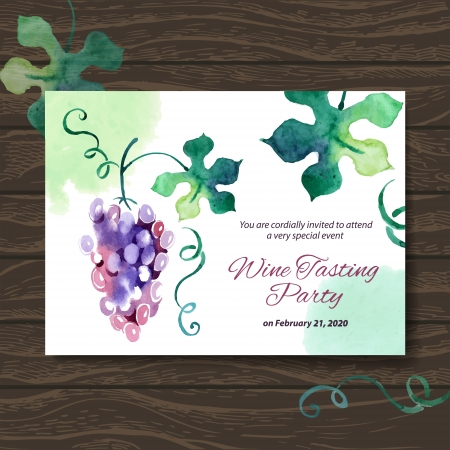 wine menu: Wine tasting party card. Vector design with watercolor illustration