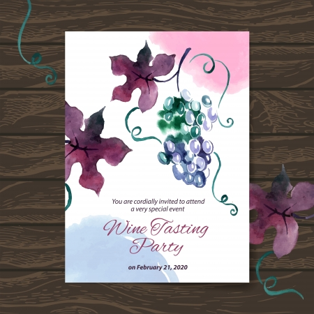 wine card: Wine tasting party card. Vector design with watercolor illustration