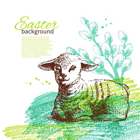 pasen schaap: Vintage achtergrond van Pasen met de hand getekende schets illustraties Stock Illustratie
