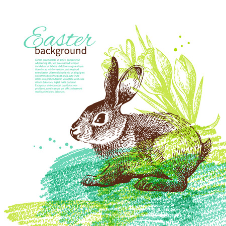 Vintage Easter background with hand drawn sketch illustrations  Vector