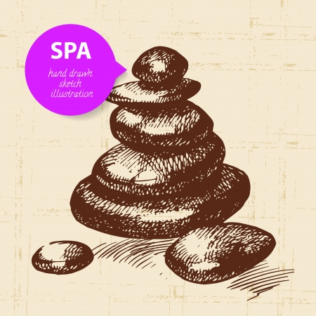 bamboo therapy: Spa background. Vintage hand drawn sketch illustration