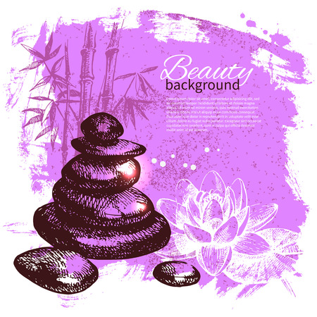 Spa background. Vintage hand drawn sketch illustration Vector