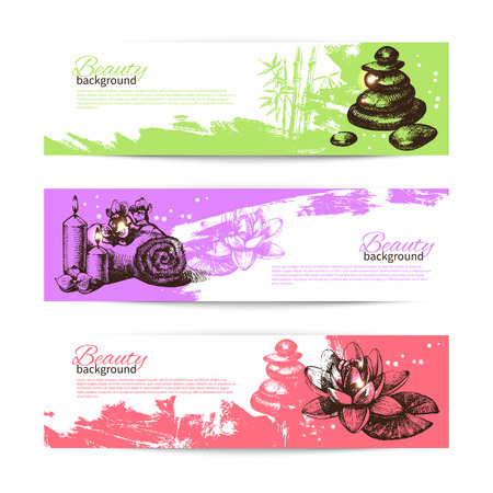 bath tub: Set of spa banners. Vintage hand drawn sketch vector illustrations