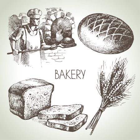 Bakery sketch icon set. Vintage hand drawn illustrations Ilustracja