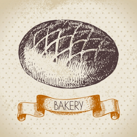 Bakery sketch background. Vintage hand drawn illustration  Vector