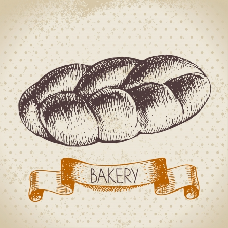 wheaten: Bakery sketch background. Vintage hand drawn illustration Illustration
