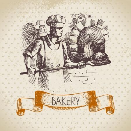パン屋のスケッチの背景。パン屋のヴィンテージ手描きイラスト