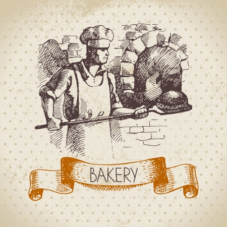 man and banner: Bakery sketch background. Vintage hand drawn illustration of baker Illustration