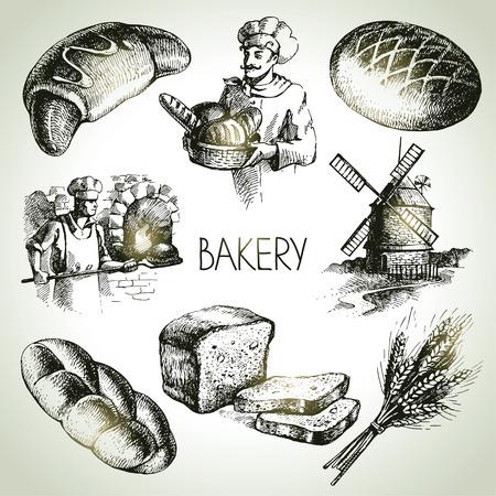 Bäckerei Skizze Symbol gesetzt. Vintage Hand gezeichnete Illustrationen