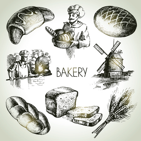 baker: Bakery sketch icon set. Vintage hand drawn illustrations Illustration