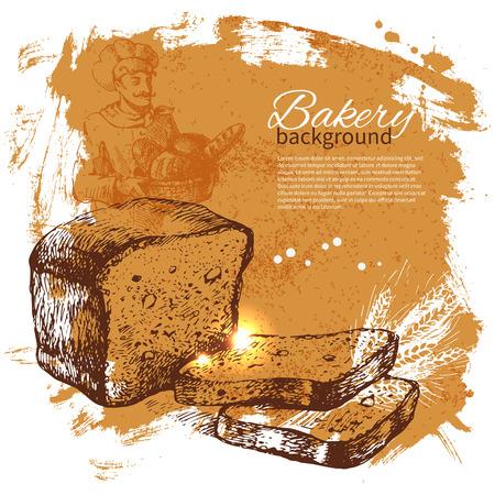 wheaten: Bakery sketch background. Vintage hand drawn illustration Illustration