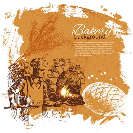 panettiere: Bakery schizzo sfondo. Illustrazione disegnata a mano Vintage Vettoriali