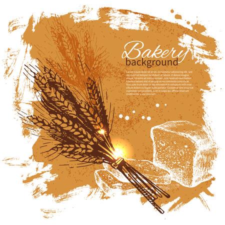 produits céréaliers: Boulangerie croquis fond. Illustration tirée par la main de cru