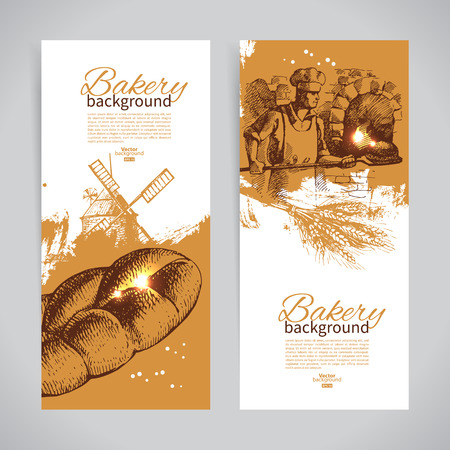 Set of bakery sketch banners. Vintage hand drawn illustrations Иллюстрация