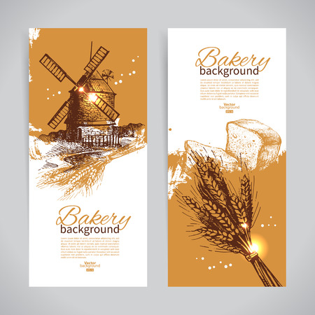 Set of bakery sketch banners. Vintage hand drawn illustrations Çizim