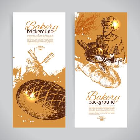produits céréaliers: Ensemble de boulangerie croquis bannières. Illustrations tirées par la main de cru
