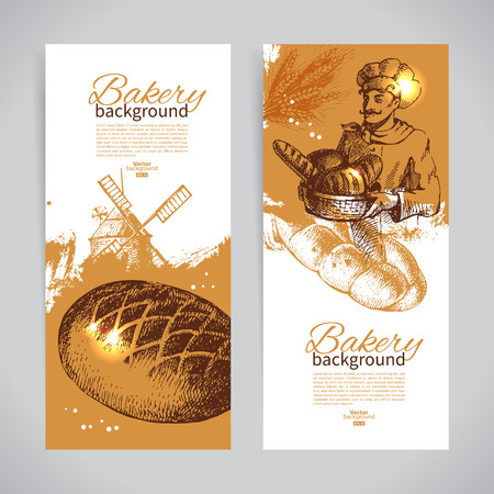 bakery products: Set of bakery sketch banners. Vintage hand drawn illustrations Illustration