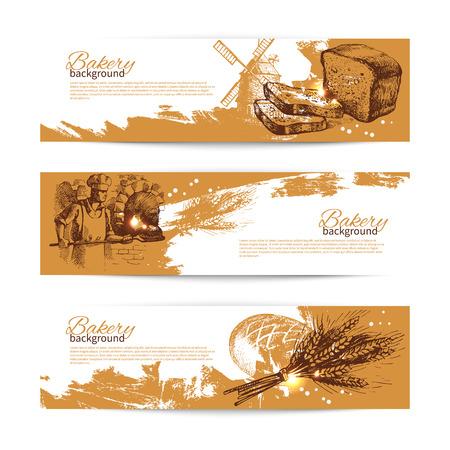 panadero: Conjunto de panadería croquis banners. Ilustraciones dibujadas mano de la vendimia