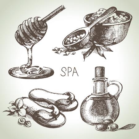 sauna: Spa sketch icon set. Beauty vintage hand drawn illustrations